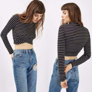 Topshop Stripe Long Sleeve Twist Front Crop Top